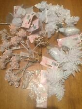 large lot craft bridal white flowers leaves iridescent Bouquet
