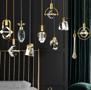 Brass Crystal Chandelier Luxury Dining Room Store Pendant Hanging Lamp Light
