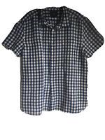 Howick Mens Plaid White/Blue Linen/Cotton Short Sleeve Shirt XL(C23)