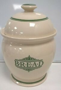 """The 1869 Victorian Pottery 14"""" Bread Bin Container Lidded Jar Cream Green #372"""