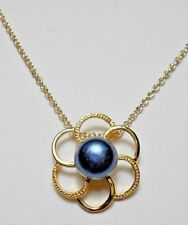 "Gold flower with 10mm Peacock Freshwater Pearl 19.5"" chain"