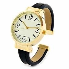 Black Gold Large Face Easy to Read Women's Bangle Cuff Watch