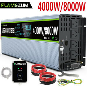 Power Inverter DC 12V To AC 240V 4000W/8000W PURE SINE WAVE LCD 2USB Large Shell