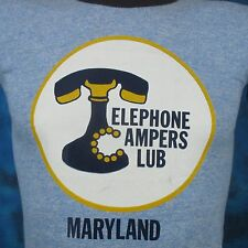 vintage 80s RAYON TRI-BLEND MARYLAND TELEPHONE CAMPERS RINGER T-Shirt XS thin