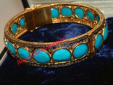 Diamond Silver 925 Turquoise Wedding Bracelet Xmas Wear 4.52ct Antique Rose Cut