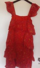Robe taille L/XL rouge a volants 100% coton marque Coline