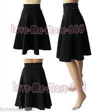 Womens Plain High Waisted Wear to Work Casual A-Line Skater Skirt Dress BLACK XS