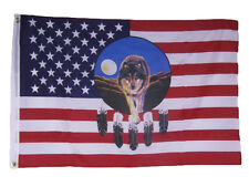 2x3 USA American Dreamcatcher Wolf Indian Native American Flag 2'x3' Banner