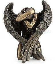 Winged Male Nude Angel Holding Head Kneeling Statue Sculpture Figure