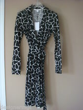 $398 NWD Diane von Furstenberg DVF Jeanne Two Black/White Wrap Dress Size 0