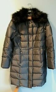 Gorgeous Grey Padded Coat & Removable Fur Collar by Per Una M&S - Size S - BNWOT