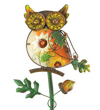 "Owl Rustic Garden Stake 30"" Metal & Glass Fall Colors Regal Art & Gift 10724 New"