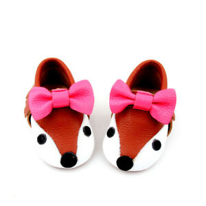 Starbie leather baby Moccasins FOX baby shoes toddler moccasin infant girls Bow