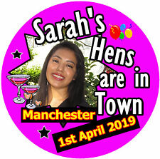 15 X HEN PARTY BADGES - BIG PERSONALISED BADGE, PHOTO - NAMES - BRAND NEW