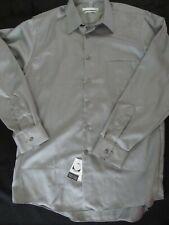NWT Geoffrey Beene shirt grey dress   N - 16  S -  34/35 LS Regular Fit Egypt