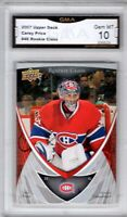 GMA 10 GEM Mint CAREY PRICE 2007/08 Upper Deck ROOKIE MONTREAL HAB ROOKIE Card !