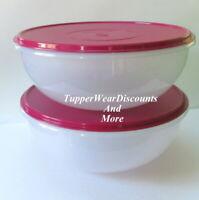 Tupperware Set of 2 Fix N Mix Mixing Bowls 26 Cup Classic Sheer w/ Vineyard Seal