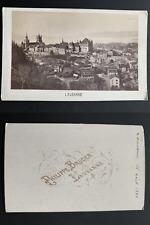 Bruder, Suisse, panorama de Lausanne Vintage albumen carte de visite, CDV.