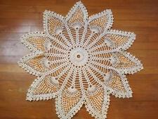 "Vtg UNUSED Hand Crocheted HUGE 38"" BEADED PEACOCK STAR CENTERPIECE DOILY Ivory"