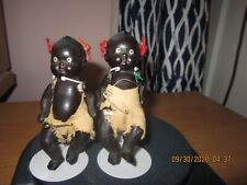 """Two 4"""" Black Bisque Babies on Stands"""