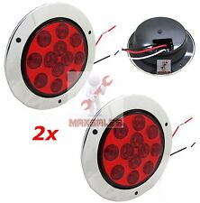 "(Qty-2) 12 LED 4"" Round Truck Trailer Brake Stop Turn Tail Lights Set"
