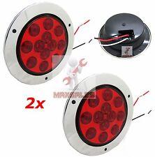 "(Qty-2) 12 LED 4"" Round Truck Trailer Brake Stop Turn Tail Lights Set"