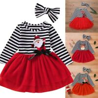 Kids Girl Christmas Long Sleeve Princess Dress Tulle Dress Xmas Party Outfit Set