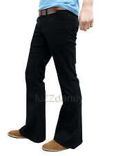 Mens FLARES Black Bell Bottoms Cords Hippy Hippie vtg indie Trousers Pants NEW