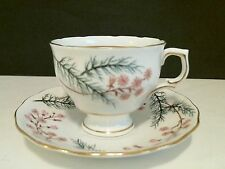 Colclough English Bone China Cup & Saucer Pink Flowers Green Branches Gold c1950