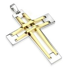 Stainless Steel Two Tone Gold IP Stitch Cross Pendant P288