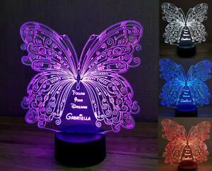 Personalised LED Night Lamp 3D Butterfly Multi Colour with USB Remote Girls Gift