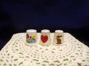 Collectible-Thimbles-3-all ceramic-possibly handmade,flower,bunny,heart  lot #48