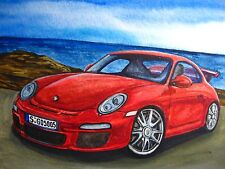 Watercolor Painting Red Car Porsche Ocean Landscape Nature Art 5 x 7