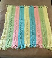 "Vintage Crochet Afghan Baby Blanket Lap Throw Handmade Yellow Blue Pink 44""x 44"""