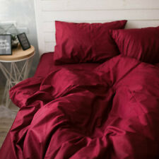 100% Natural Cotton Duvet Cover in Wine Red Twin Full Queen Custom Size