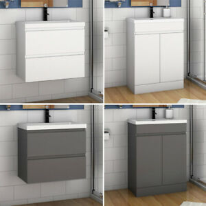 Freestanding Wall Hung Bathroom Sink Vanity Units Cabinet 500 600mm White Grey