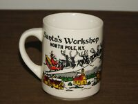 "VINTAGE 3 3/4"" HIGH SANTA'S WORKSHOP NORTH POLE NY SOUVENIR CERAMIC COFFEE MUG"