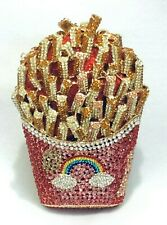 Multi-color 3D French Fries Handmade Austrian Crystal Purse Cocktail Clutch Bag