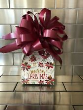 Poinsettia Merry Christmas Candy Gift Box-Basket Wrapped With Maroon Bow & Card