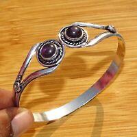 925 Silver Plated Amethyst Quartz Bangle Cuff Bracelet Ethnic Jewelry BANB12
