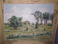 Rare John Tasker Howard author art 1943 oil painting 12 x 16 pasture land N.J.