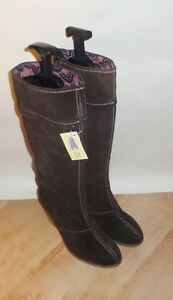 NEW Fly London BLAND ladies brown suede pull on heeled boots size UK 8 EU 41