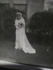 Rare 1920s African American Female in her wedding dress outside an slave house