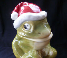 ~ vintage 2004 ~ SANTA Hat FROG ceramic COOKIE JAR ~ American Retro ~ Christmas!