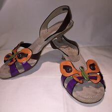 Women's Genuine PRADA Butterfly Sandals Brown-Multi with Kitten Heel