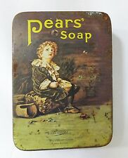 Pears soap tin box made in england advertising promotion boy blowing bubbles