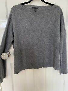 Eileen Fisher Cashmere Grey Boat Neck Oversize Jumper Size XS
