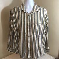 Vtg OshKosh B'Gosh Mens Long Sleeve Flannel Large USA Made Brown Gray Stripe FS!