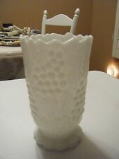 WHITE MILK GLASS VASE 6 X 3.5 SCALLOPED  TOP AND BOTTOM RAISED GRAPES ON SIDES