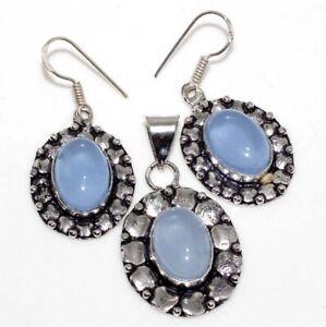 Purple Chalcedony 925 Silver Plated Pendant Earrings Set Jewelry Gift GW